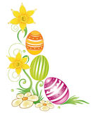 Easter eggs, daffodils Royalty Free Stock Image