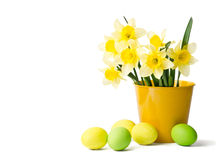 Easter eggs and daffodils in a flowerpot Royalty Free Stock Photos