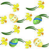 Easter eggs and daffodils seamless texture Stock Images