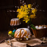 Easter eggs and daffodils. A tasty easter eggs and daffodils Stock Images