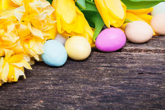 Easter eggs and daffodils on wood Stock Images