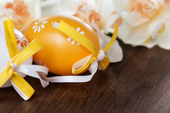 Easter eggs and daffodils Royalty Free Stock Photo