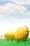 Easter eggs with daisy and blue sky Stock Photos