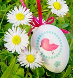 An Easter eggs with daisy on grass Royalty Free Stock Photos