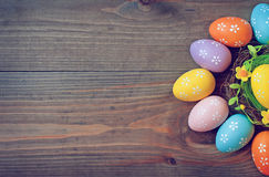 Easter eggs on a dark background. Easter eggs lie on a dark background stock photography