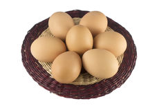 Easter eggs on dark wicker plate Stock Photography