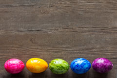 Easter Eggs dark wood copyspace stock image