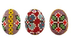 Easter eggs decorated with beads Royalty Free Stock Photo