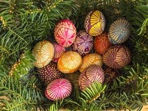 Easter eggs decorated with bee wax Stock Image