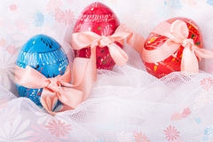 Easter Eggs Decorated with Bows Royalty Free Stock Images