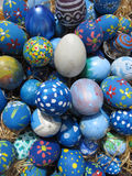 Easter Eggs decorated by children Stock Photo
