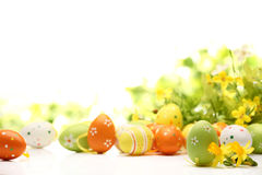 Easter eggs decorated with flowers royalty free stock photo