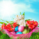 Easter eggs decorated with flowers Stock Photos