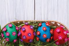 Easter eggs decorated with flowers closeup Royalty Free Stock Photo
