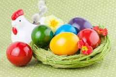Easter Eggs decorated on a Green Polka Dot Napkin Stock Images
