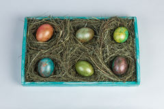 Easter eggs. Decorated eggs for Easter in a nest of hay on a decorated wooden tray on white background Royalty Free Stock Image