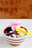 Easter eggs decorated with ribbons. Food holiday stock images