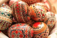 Easter Eggs Decorated with Traditional Painting. Decorated Easter eggs. Traditional Easter eggs painted with multiple colors. Red, green, blue, brown and black Royalty Free Stock Images