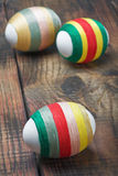 Easter eggs decorated with woolen threads Royalty Free Stock Photography
