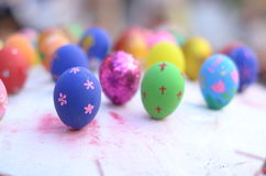 Easter eggs. Decorating colorful. Coloring eggs on a pattern Royalty Free Stock Photography