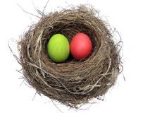 Easter eggs,decoration. Painted Easter eggs in a bird's nest royalty free stock photo