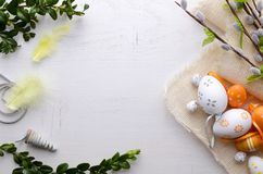 Easter eggs decoration background. Springtime rural composition top view concept Royalty Free Stock Photo