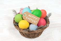 Easter eggs decoration wooden background Stock Images