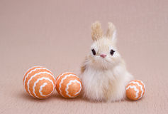 Easter eggs and decoration bunnies. Stock Images