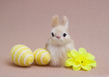 Easter eggs and decoration bunnies. Stock Photography