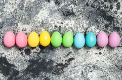 Easter eggs decoration dark background. Easter eggs decoration on dark background royalty free stock images