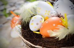 Easter eggs decoration, eggs in the nest Stock Image