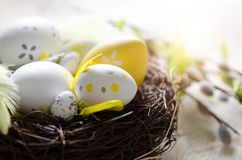 Easter eggs decoration, eggs in the nest Royalty Free Stock Photo