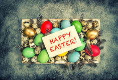 Easter eggs decoration greetings card Happy Easter Stock Photos