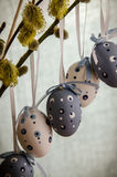 Easter eggs decoration. Group of white blue Easter eggs decoration Royalty Free Stock Photos