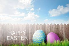 Easter eggs decoration with Happy easter text Stock Images