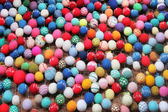 Easter eggs. Easter decoration with multicolored knitted eggs Stock Image