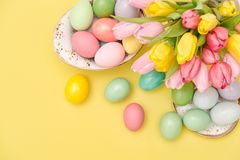 Easter eggs decoration pastel colored tulip flowers stock photos
