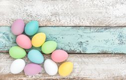 Easter eggs decoration wooden background Stock Image