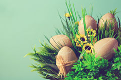 Easter eggs decoration with retro filter effect Stock Image