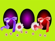Easter eggs with decoration and ribbon Stock Photography