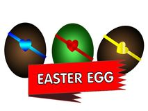Easter eggs with decoration and ribbon Stock Images