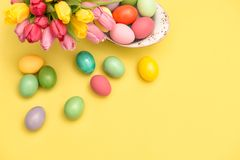 Easter eggs decoration tulip flowers background copy space royalty free stock photos
