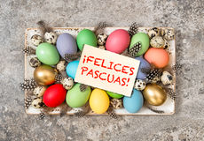 Easter eggs decoration vintage toned Felices Pascuas Royalty Free Stock Image
