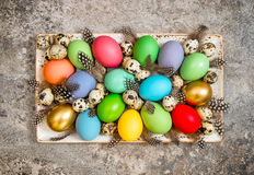 Easter eggs decoration vintage Vibrant colors Stock Photos