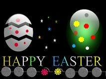 Easter eggs with decorations and flower Royalty Free Stock Image