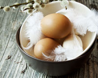 Easter Eggs with Delicate Feathers in Bowls Royalty Free Stock Image