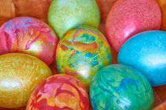 Easter 11. Easter eggs of different colors stock images