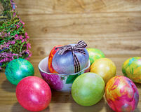 Easter 19. Easter eggs of different colors stock photography