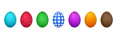 Easter eggs of different colors and ornate. Colorful eggs Royalty Free Stock Photography