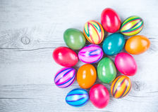 Easter eggs in different colors Stock Photo